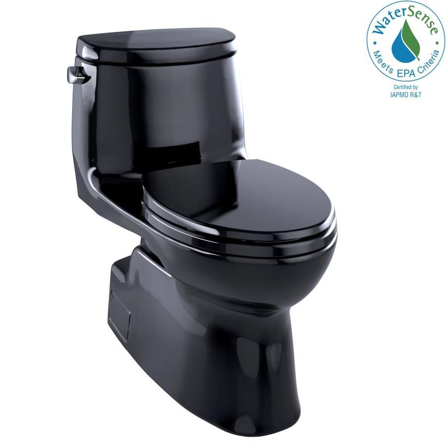 TOTO Carlyle II 1.28-GPF (4.85-LPF) Ebony WaterSense Elongated Chair Height 1-Piece Toilet