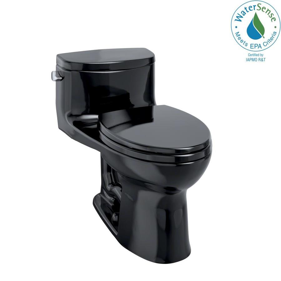 TOTO Supreme II 1.28-GPF (4.85-LPF) Ebony WaterSense Elongated Chair Height 1-Piece Toilet