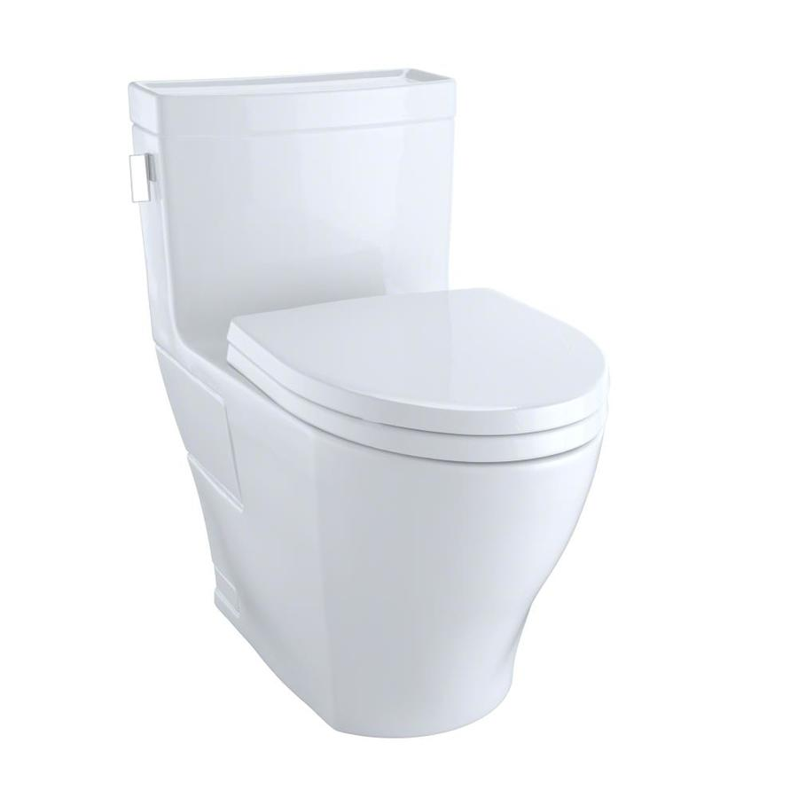 TOTO Legato Cotton White WaterSense Labeled  Elongated Chair Height 1-piece Toilet 12-in Rough-In Size
