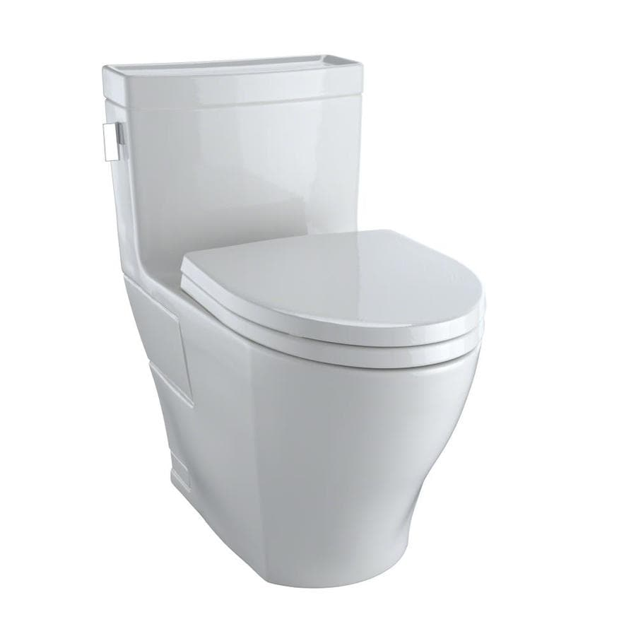 TOTO Legato Colonial White WaterSense Labeled  Elongated Chair Height 1-piece Toilet 12-in Rough-In Size