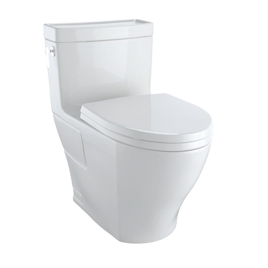 TOTO Aimes Colonial White 1.28-GPF (4.85-LPF) 12 Rough-In WaterSense Elongated 1-Piece Chair Height Toilet