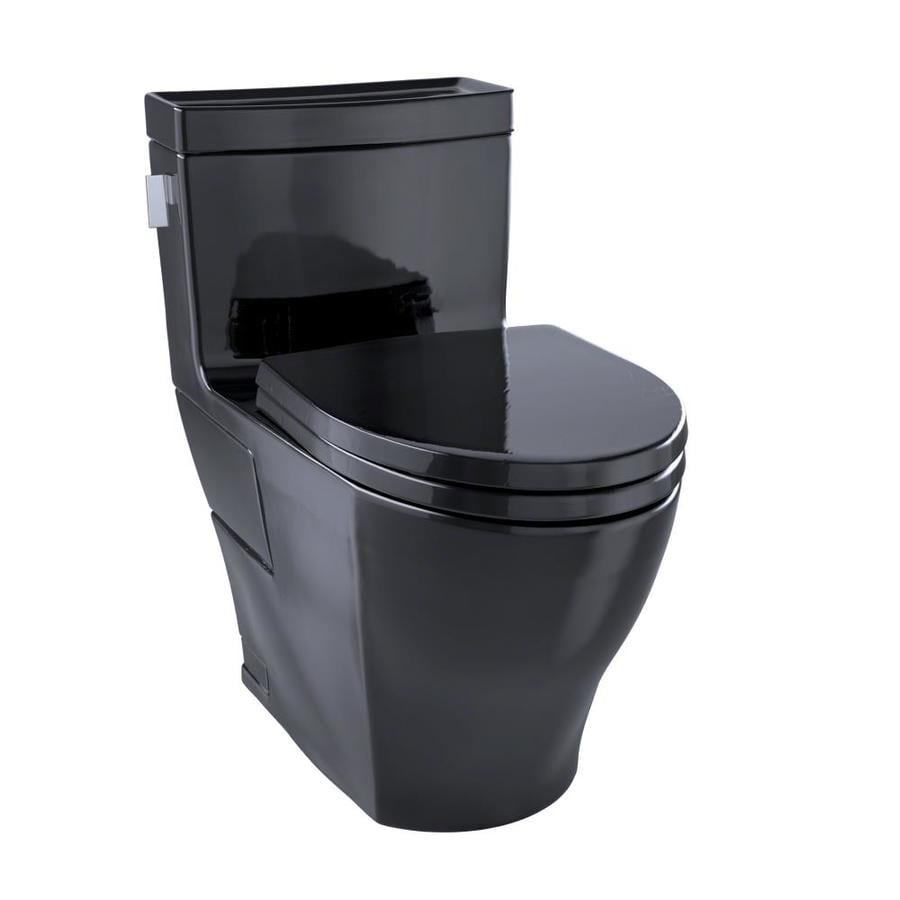TOTO Aimes 1.28-GPF (4.85-LPF) Ebony Elongated Chair Height 1-piece Toilet