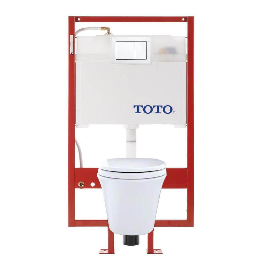 TOTO Maris Cotton White WaterSense Labeled Dual Elongated Chair Height 2-piece Toilet Wall-hung Rough-In Size