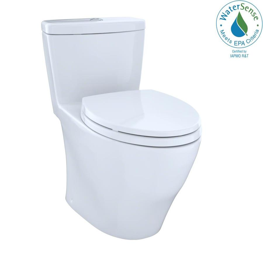 TOTO Aquia Cotton White WaterSense Labeled Dual Elongated Chair Height 1-piece Toilet 12-in Rough-In Size