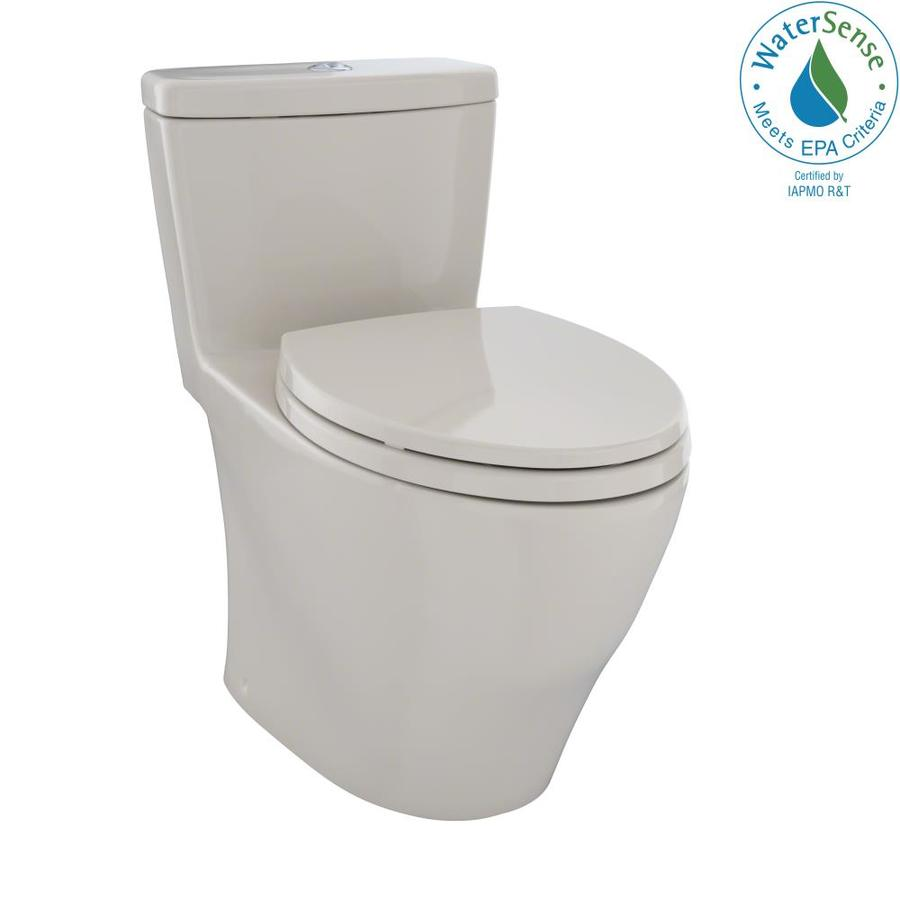 TOTO Aquia 0.9-GPF Bone WaterSense Dual-Flush Elongated Chair Height 1-Piece Toilet