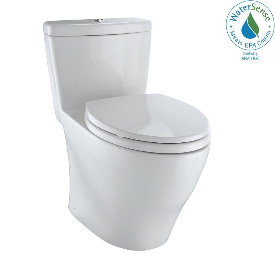 TOTO Aquia 0.9-GPF Colonial White WaterSense Dual-Flush Elongated Chair Height 1-Piece Toilet