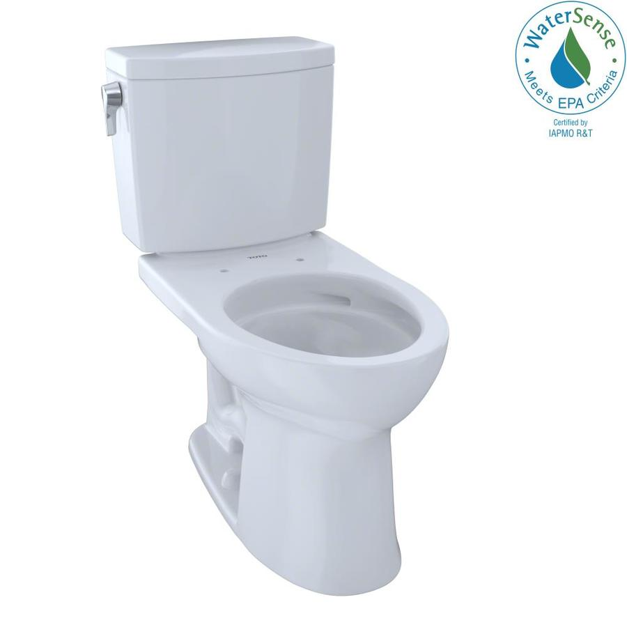 TOTO Drake Ii 1 Cotton White WaterSense Elongated Chair Height 2-Piece Toilet