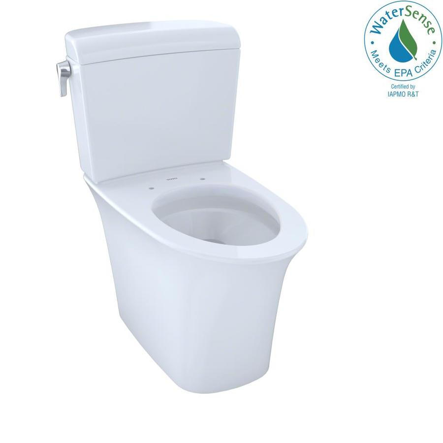 TOTO Maris Cotton White WaterSense Labeled Dual Elongated Chair Height 2-piece Toilet 12-in Rough-In Size