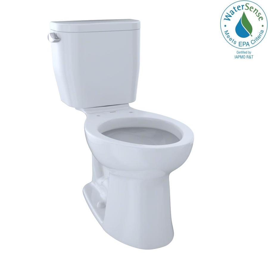 TOTO Entrada Cotton White 1.28-GPF (4.85-LPF) 12 Rough-In WaterSense Elongated 2-Piece Chair Height Toilet