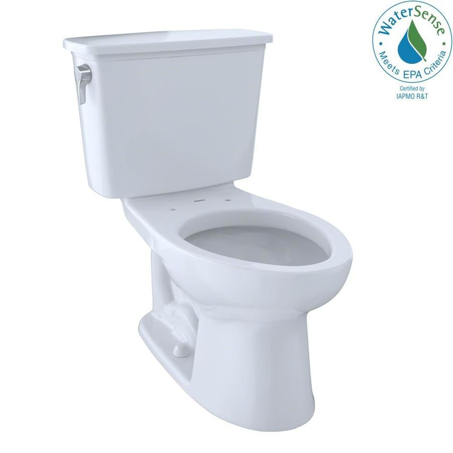 TOTO Eco Drake Cotton White 1.28-GPF (4.85-LPF) 12 Rough-In WaterSense Elongated 2-Piece Standard Height Toilet