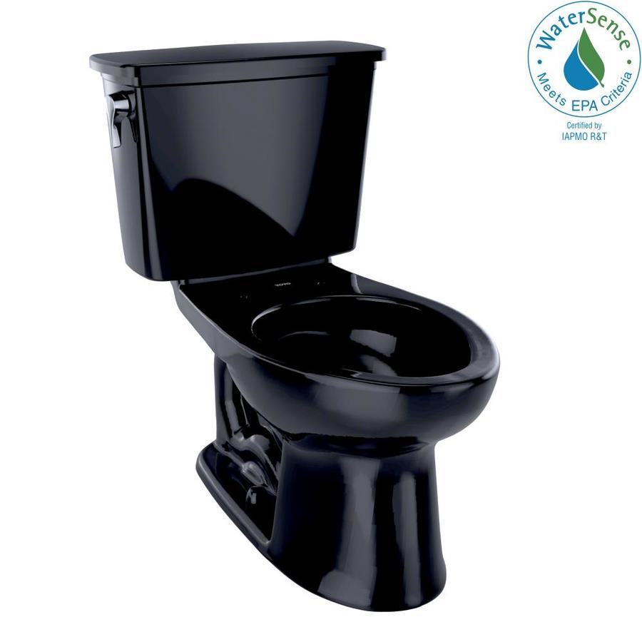TOTO Eco Drake Ebony WaterSense Labeled  Elongated Standard Height 2-piece Toilet 12-in Rough-In Size