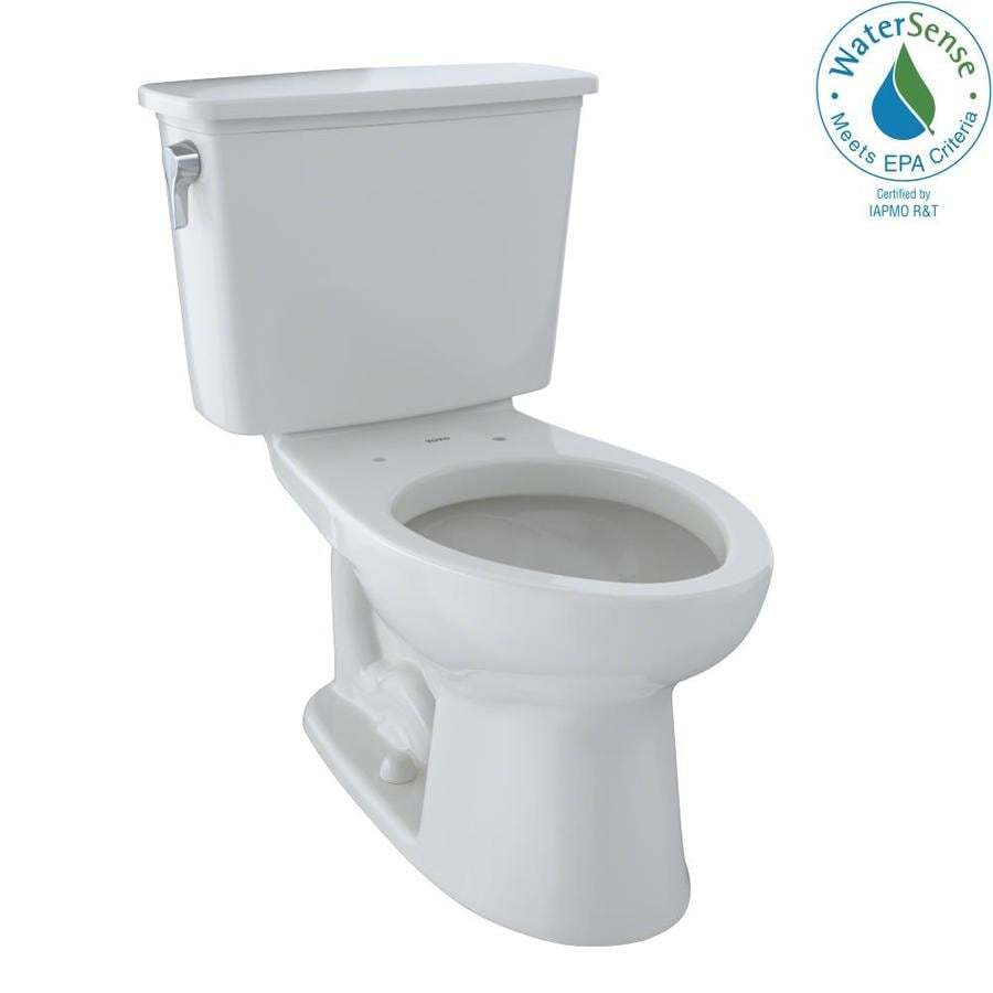TOTO Eco Drake Colonial White WaterSense Labeled  Elongated Chair Height 2-piece Toilet 12-in Rough-In Size