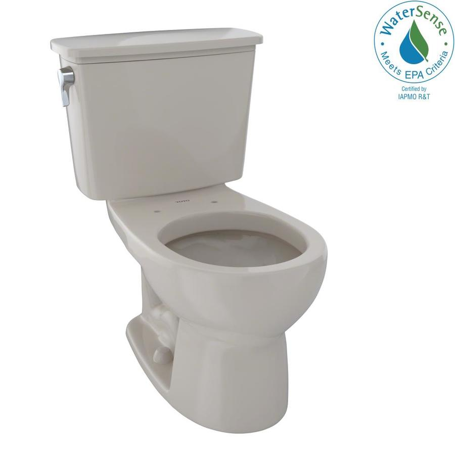 TOTO Eco Drake Bone WaterSense Labeled  Round Standard Height 2-piece Toilet 12-in Rough-In Size