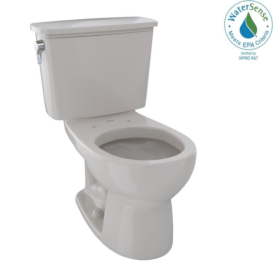 TOTO Eco Drake Sedona Beige WaterSense Labeled  Round Standard Height 2-piece Toilet 12-in Rough-In Size
