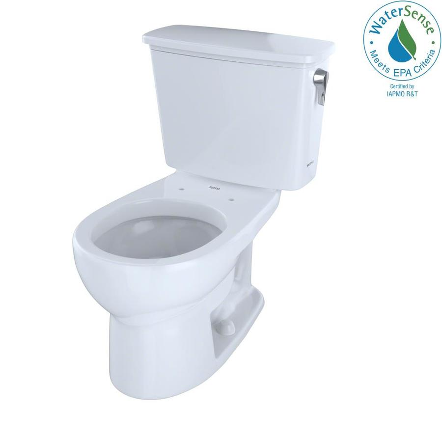 TOTO Eco Drake Cotton White WaterSense Labeled  Round Standard Height 2-piece Toilet 12-in Rough-In Size