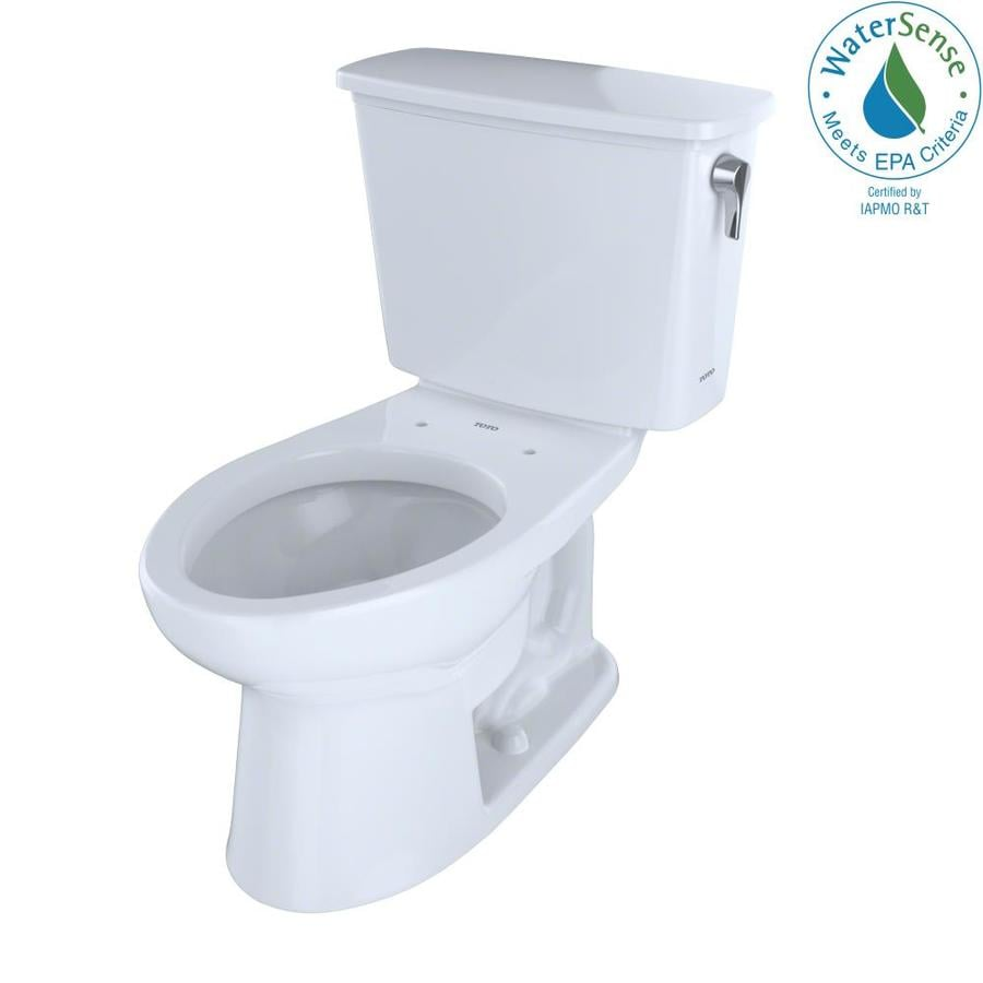 TOTO Eco Drake Cotton White WaterSense Labeled  Elongated Chair Height 2-piece Toilet 10-in Rough-In Size