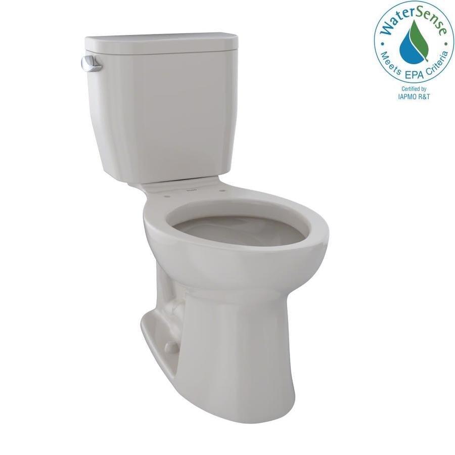 TOTO Entrada 1.28-GPF Sedona Beige WaterSense Elongated Chair Height 2-Piece Toilet