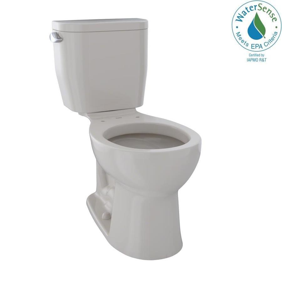 TOTO Entrada Sedona Beige 1.28-GPF (4.85-LPF) 12 Rough-In WaterSense Round 2-Piece Chair Height Toilet