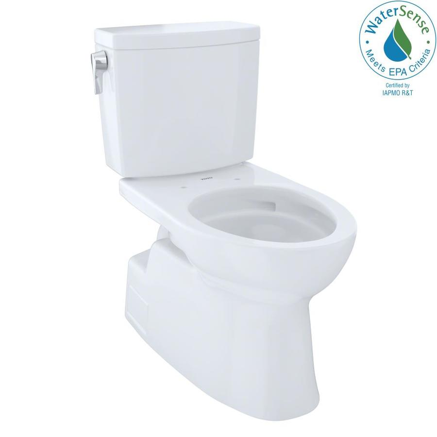 TOTO Vespin Ii 1 Cotton White WaterSense Elongated Chair Height 2-Piece Toilet