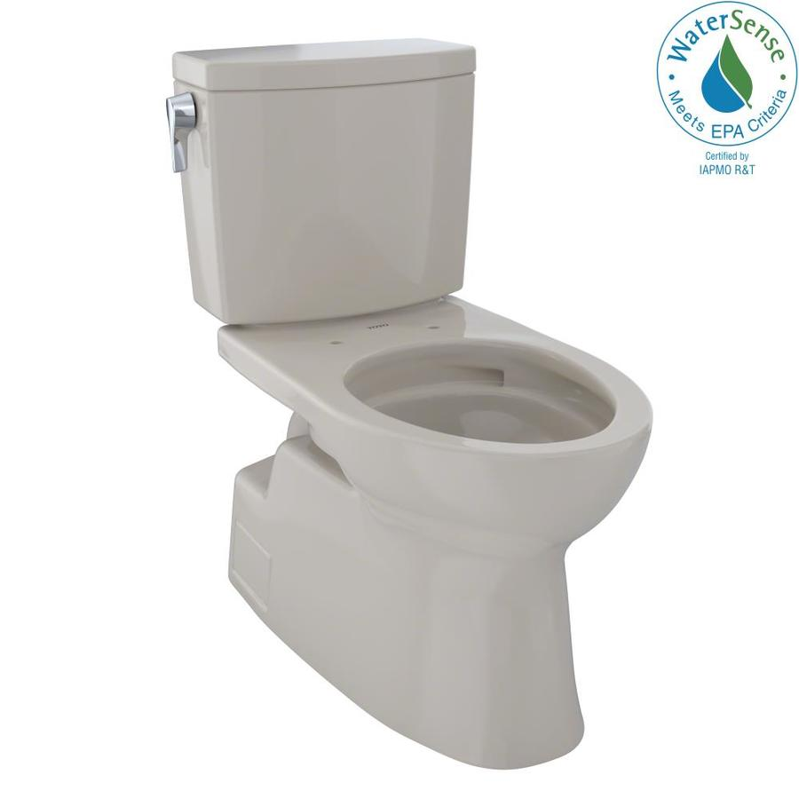 TOTO Vespin II Bone 1.0-GPF (3.79-LPF) 12 Rough-In WaterSense Elongated 2-Piece Chair Height Toilet