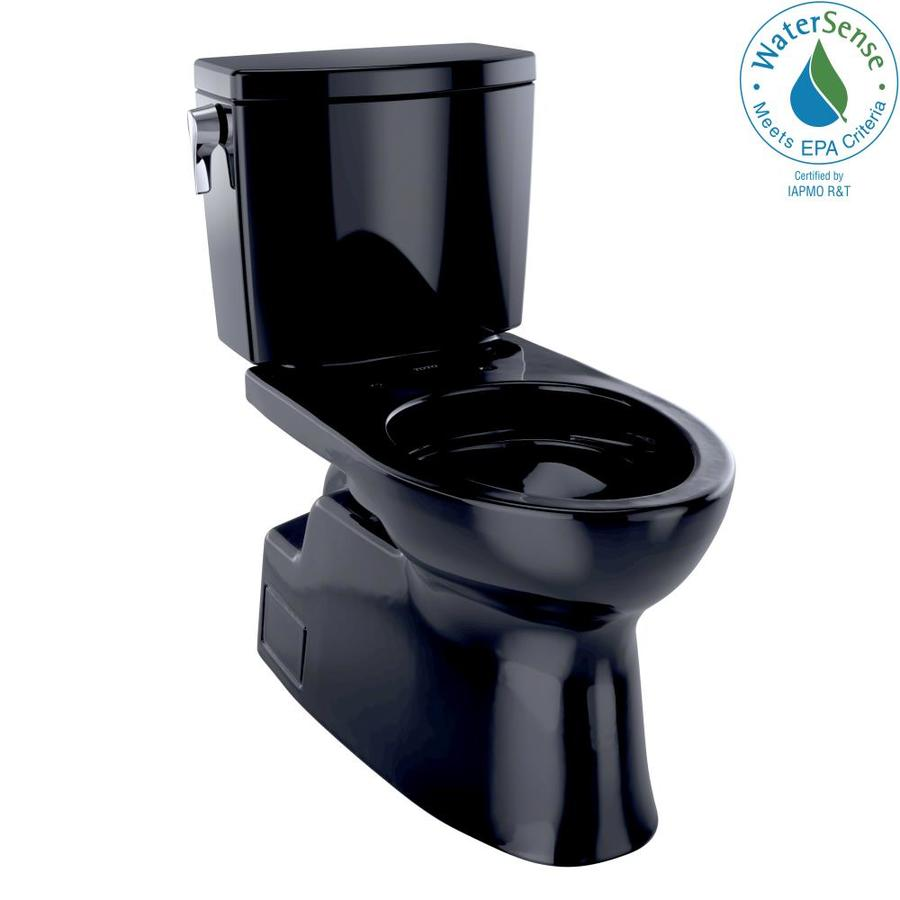 TOTO Vespin II Ebony WaterSense Labeled  Elongated Chair Height 2-piece Toilet 12-in Rough-In Size