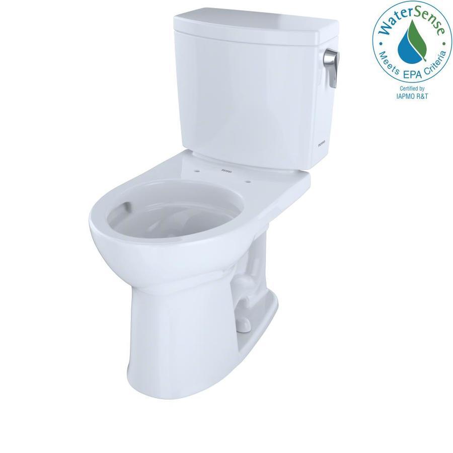 TOTO Drake II Cotton White 1.0-GPF (3.79-LPF) 12 Rough-In WaterSense Round 2-Piece Chair Height Toilet