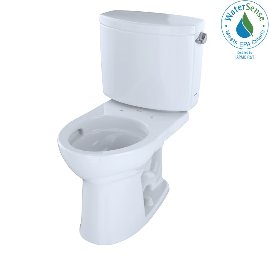 TOTO Drake II 1.28-GPF (4.85-LPF) Cotton White WaterSense Round Chair Height 2-Piece Toilet