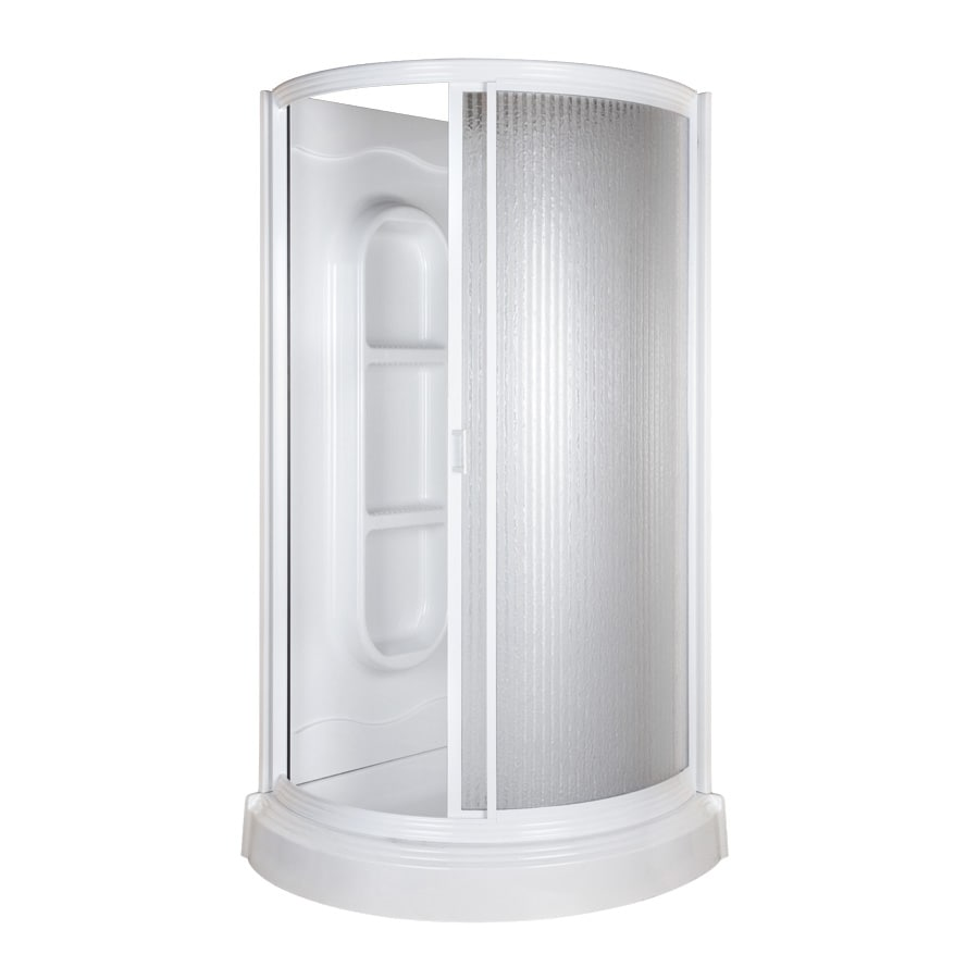 Aqua Glass Round Shower High Gloss White High Impact Polystyrene Wall  High Impact PolystyreneShop Aqua Glass Round Shower High Gloss White High Impact  . Lowes Corner Shower Kit. Home Design Ideas