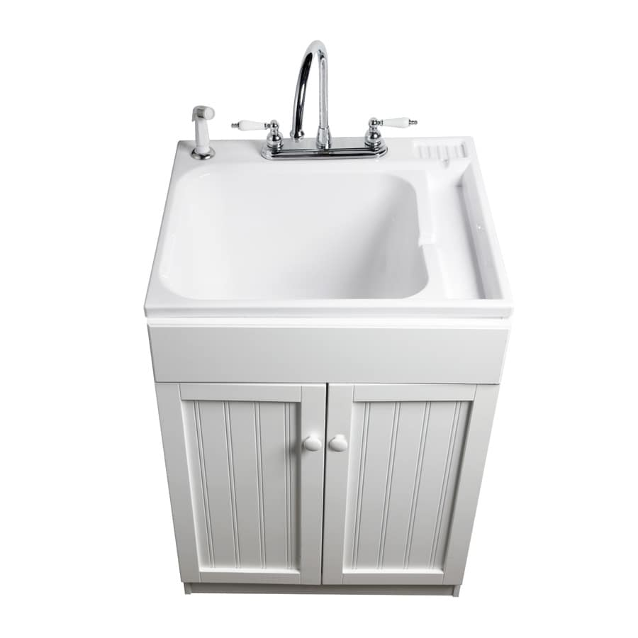 Asb 25 In X 22 White Freestanding Composite Laundry Utility Sink With Faucet