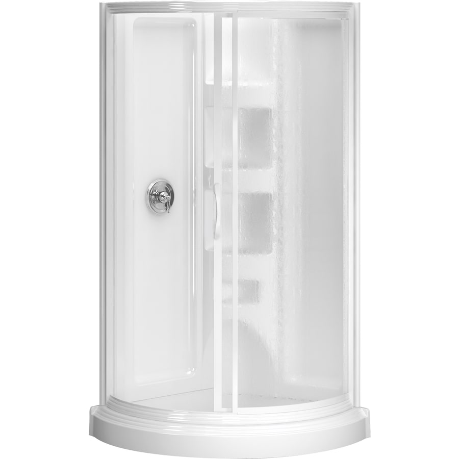 Shop Peerless High Gloss White Styrene Round 5-Piece Corner Shower ...