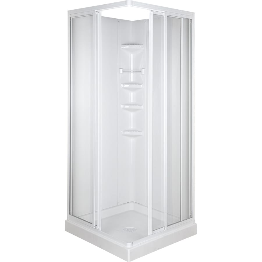 ASB High Gloss White Polystyrene Square 3-Piece Corner Shower Kit (Actual: 70.75-in x 32-in x 32-in)