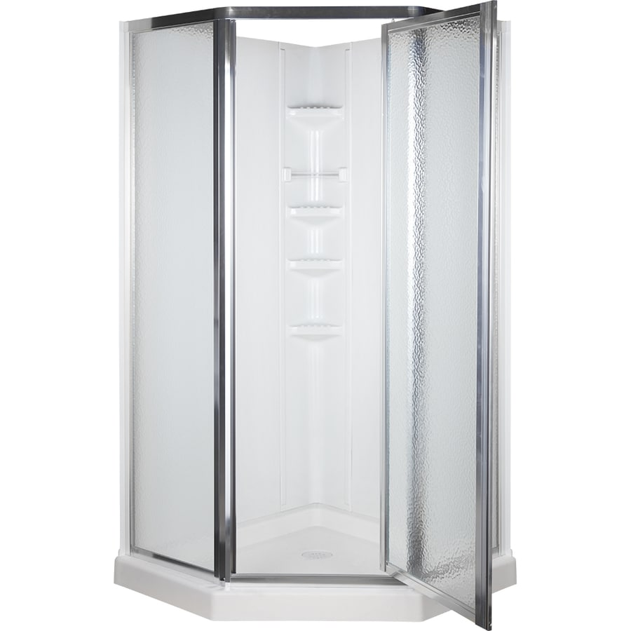 Aqua Glass 74 1 4 in H x 38 in W xShop Aqua Glass 74 1 4 in H x 38 in W x 38 in L High Gloss White  . Lowes Corner Shower Kit. Home Design Ideas