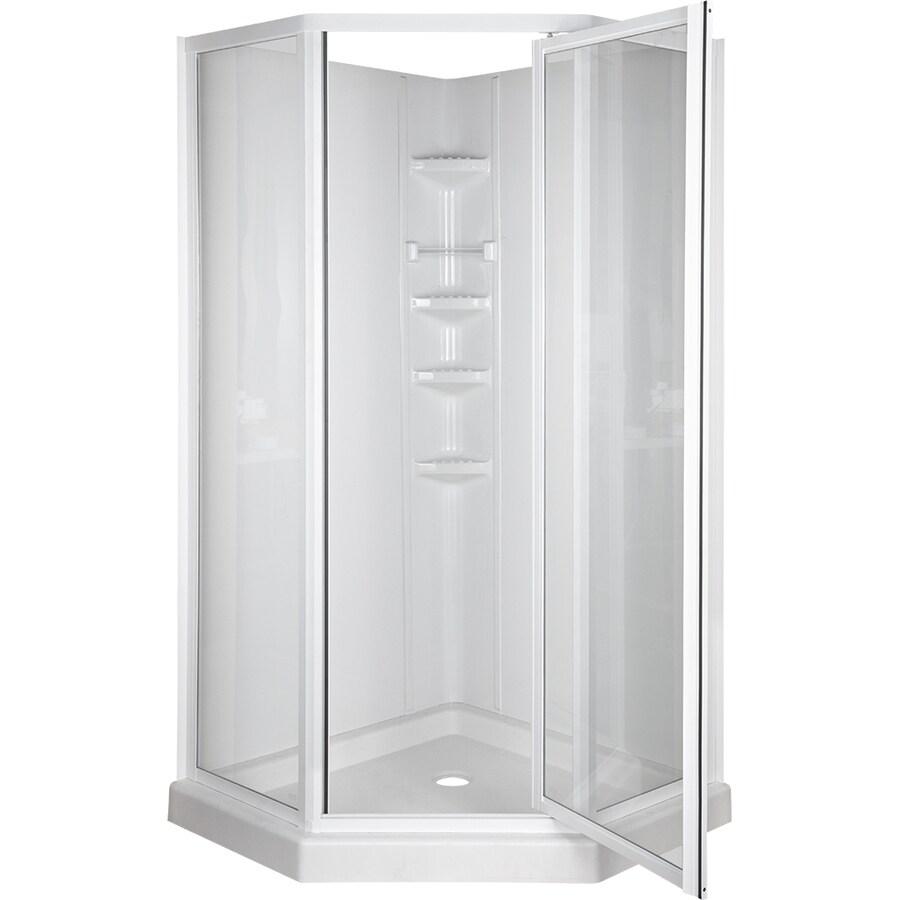 Aqua Glass 34 Round Corner Shower Kit - Glass Designs