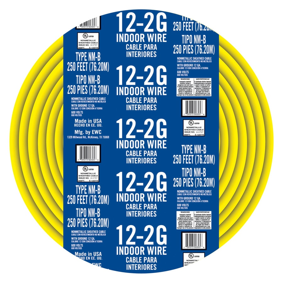 Shop 250-ft 12-2 Non-Metallic Wire (By-the-Roll) at Lowes.com