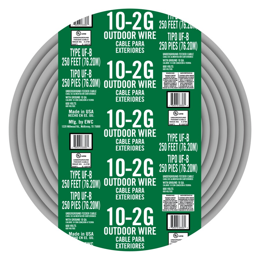Shop Encore Wire 250-ft 10-2 UF Wire (By-the-Roll) at Lowes.com
