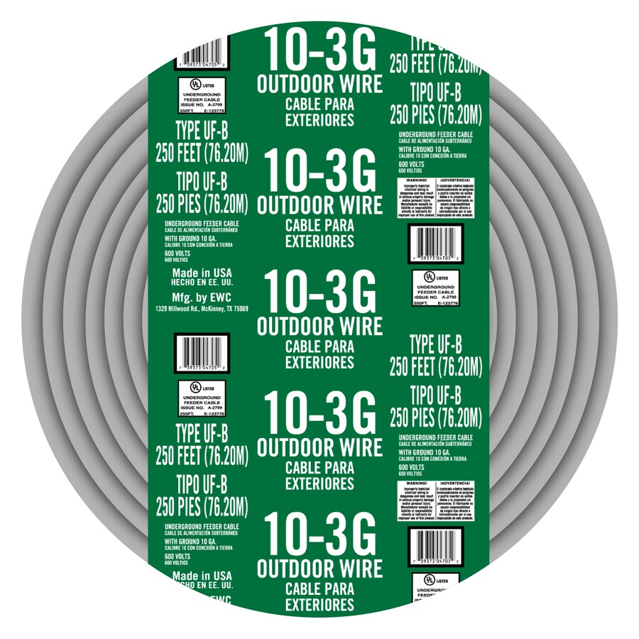 Shop Encore Wire 250-ft 10-3 UF Wire (By-the-Roll) at Lowes.com