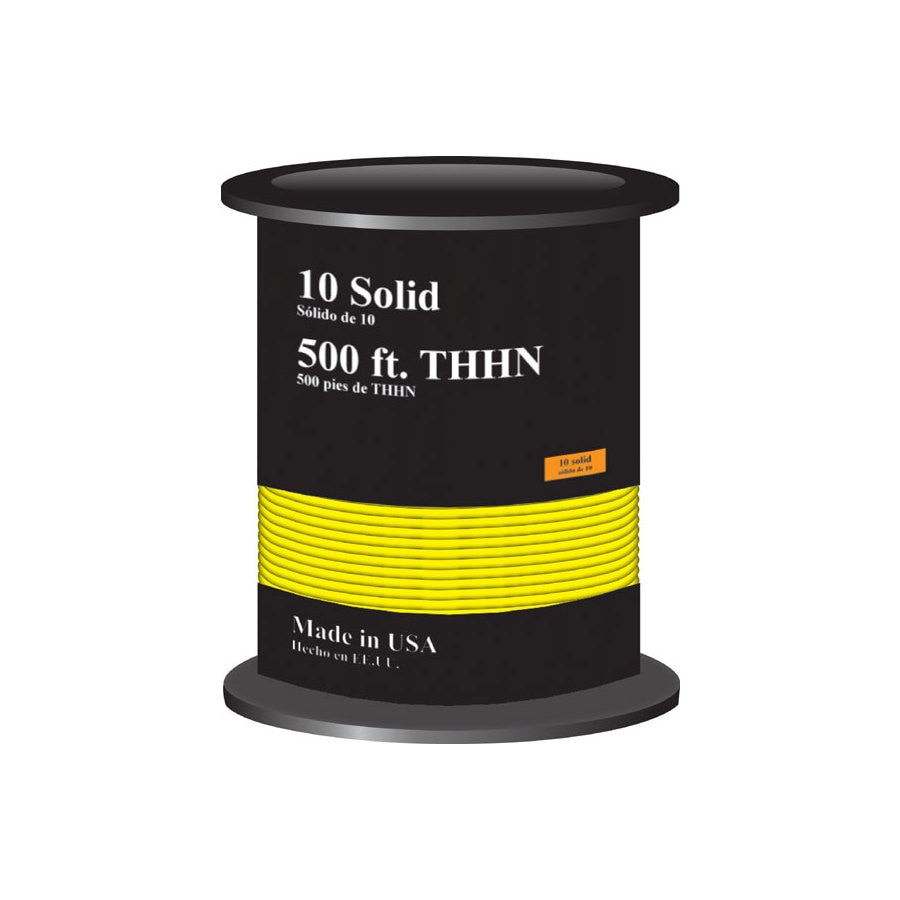 Shop Encore Wire 500-ft 10-AWG Solid Yellow THHN Wire (By-the-Roll ...