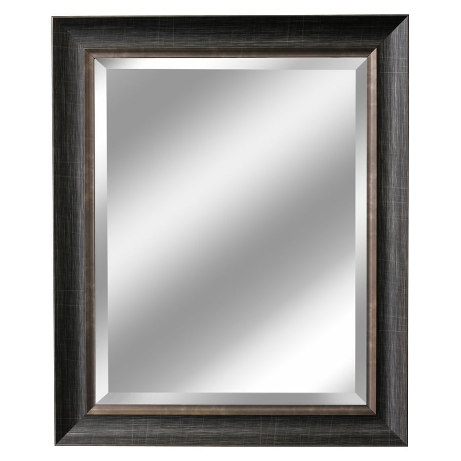 Shop allen roth brush charcoal and pewter beveled wall for Mirror o mirror