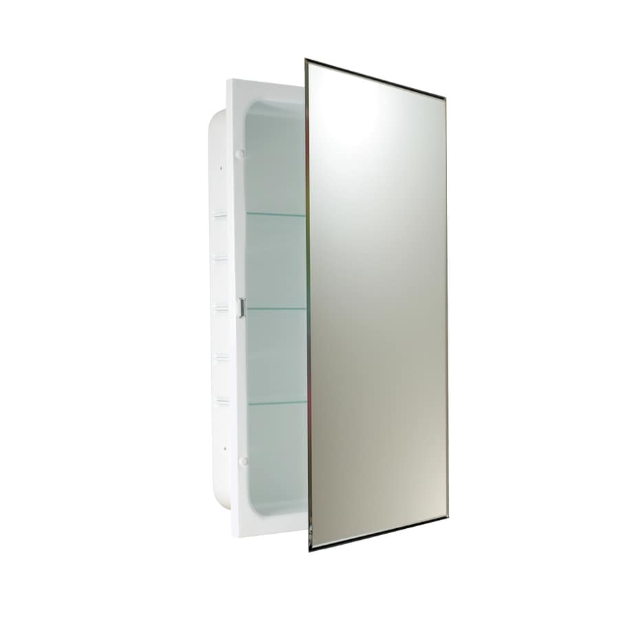Allen Roth 16 In X 26 Rectangle Recessed Mirrored Steel Medicine Cabinet