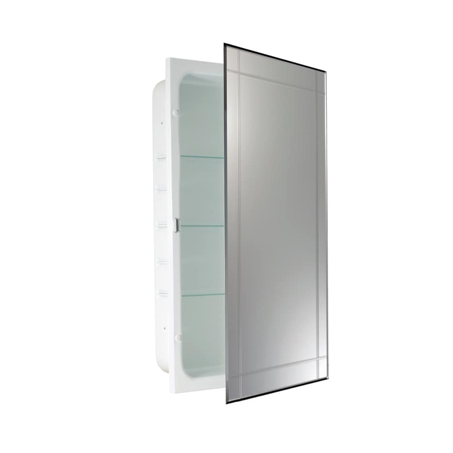 Shop allen + roth 16-in x 26-in Rectangle Recessed Mirrored Steel ...