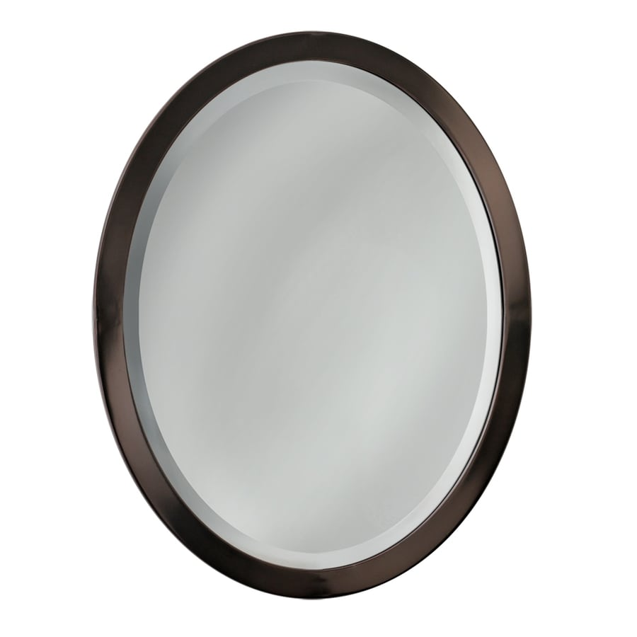 Framed Bathroom Mirrors Bronze shop allen + roth 23-in w x 29-in h oil-rubbed bronze oval