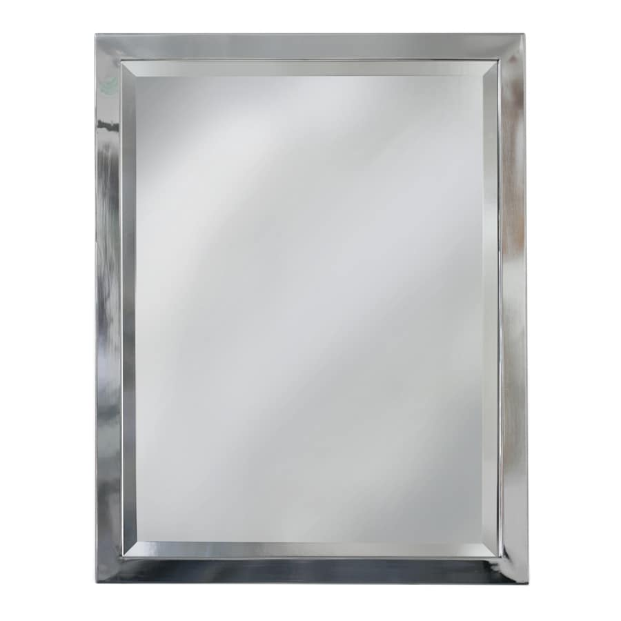 allen roth 24 in x 30 in chrome rectangular framed bathroom mirror