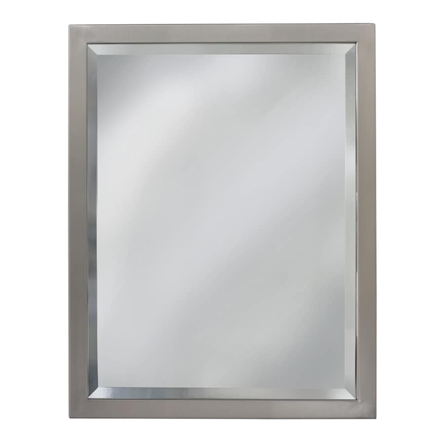 allen + roth 24-in x 30-in Brush Nickel Rectangular Framed Bathroom Mirror