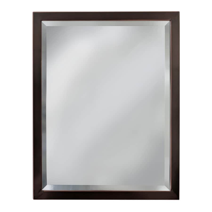 shop allen roth 24 in x 30 in oil rubbed bronze rectangular framed bathroom mirror at
