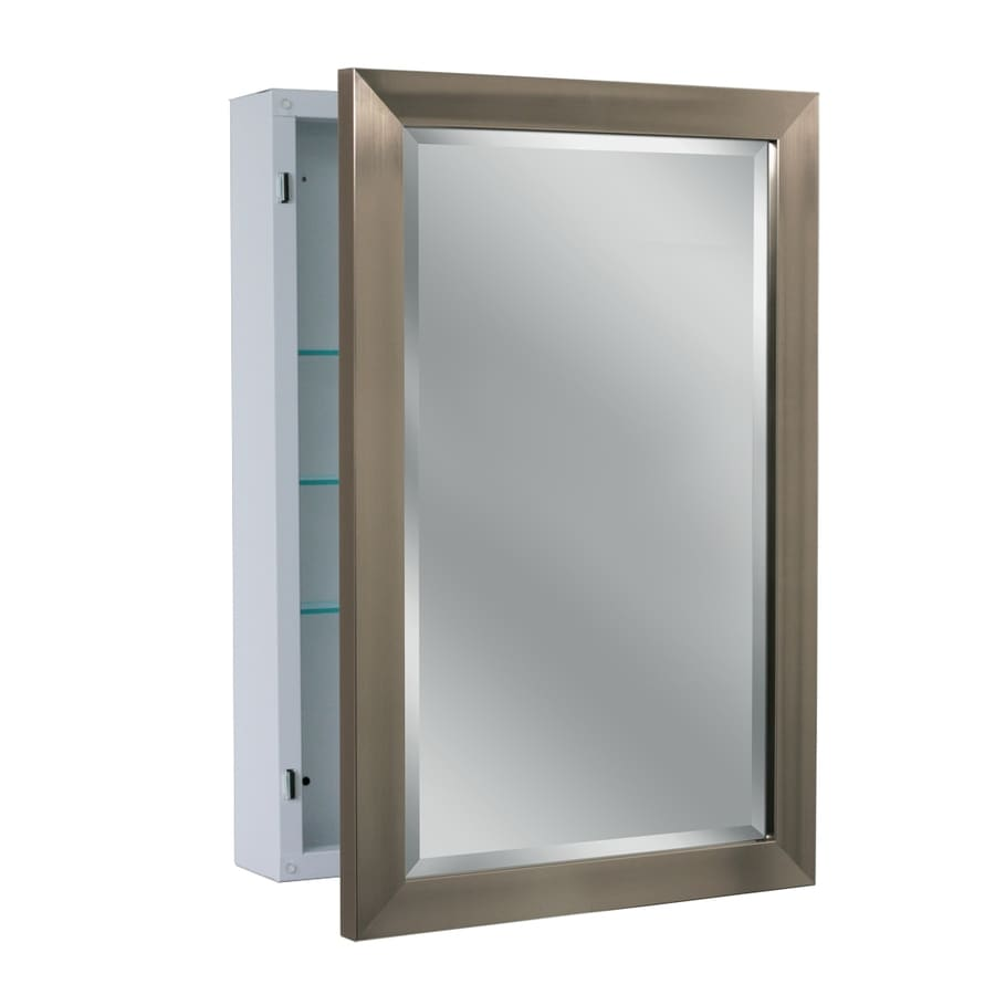 Medicine cabinet with side lighting - Allen Roth 22 25 In X 30 25 In Rectangle Surface Aluminum Medicine Cabinet