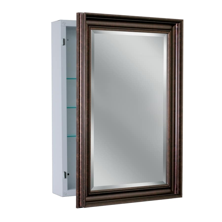allen + roth 22.25-in x 30.25-in Rectangle Surface Mirrored Steel Medicine Cabinet  sc 1 st  Loweu0027s : lowes bathroom mirror medicine cabinets - Cheerinfomania.Com