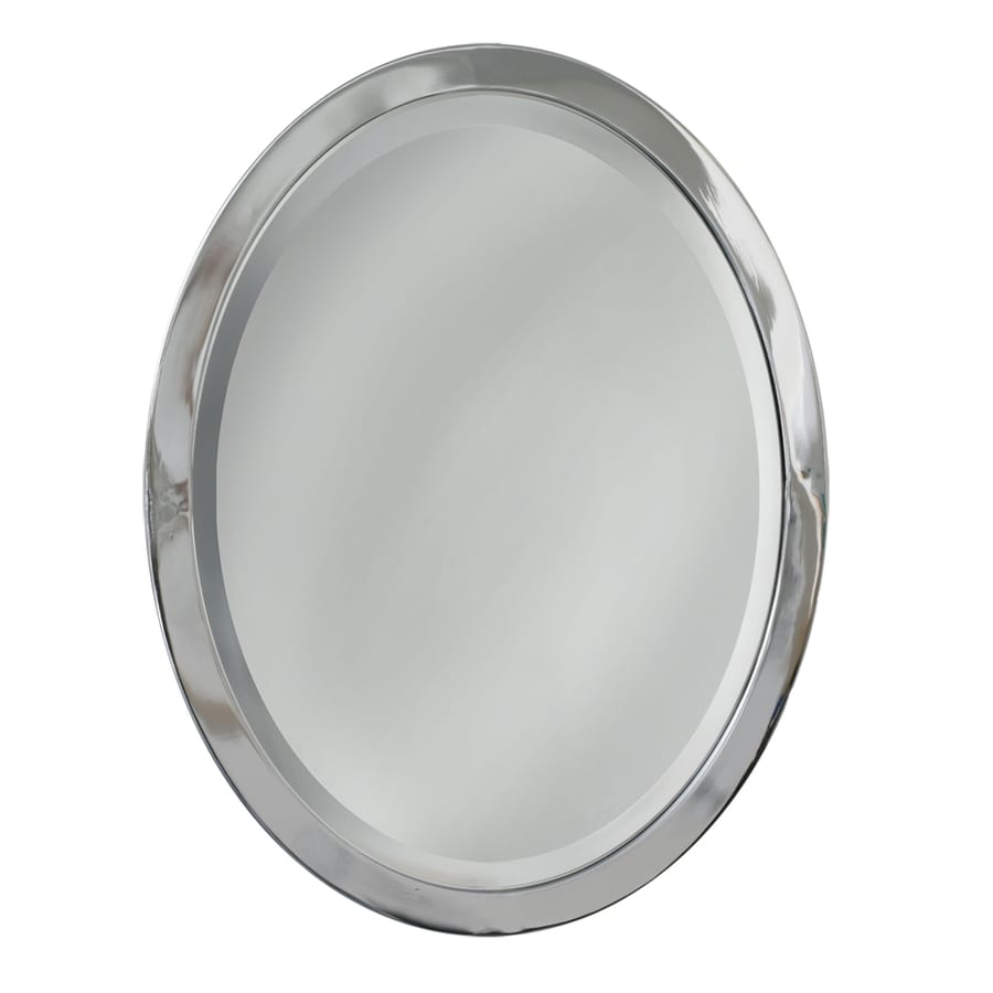 Shop allen roth 23 in w x 29 in h chrome oval bathroom for Where to find mirrors