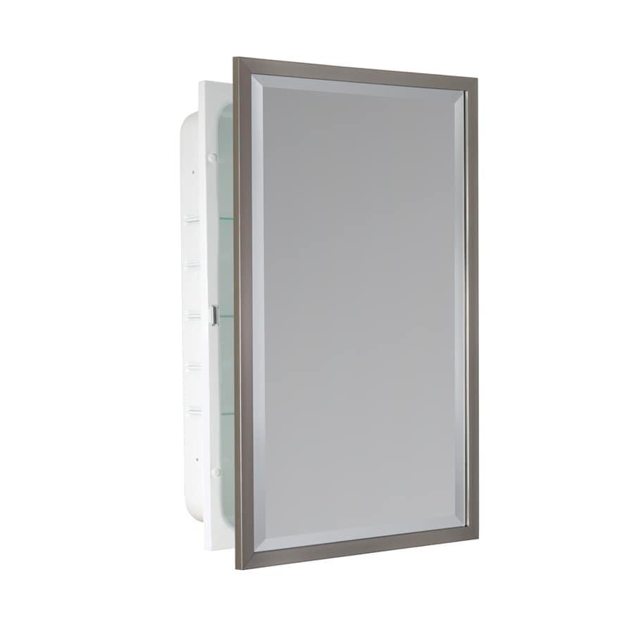 allen + roth 16-in x 26-in Rectangle Recessed Mirrored Steel Medicine Cabinet