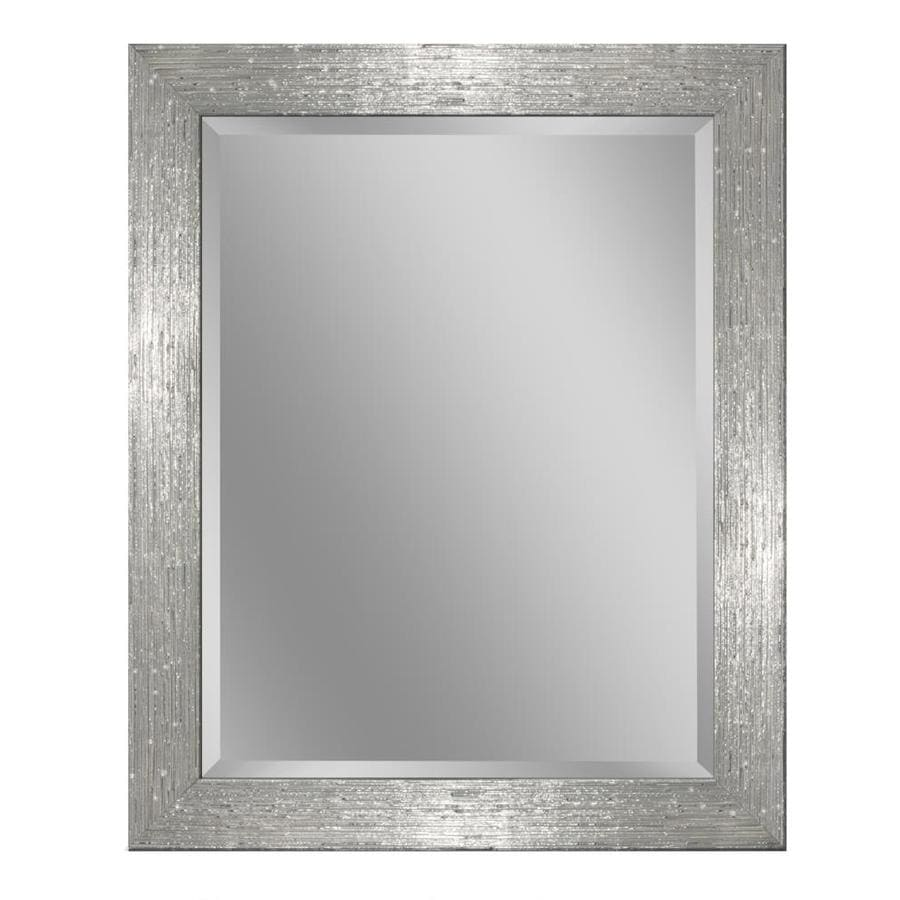 Shop allen roth 26 in x 32 in chrome and white for White framed mirror