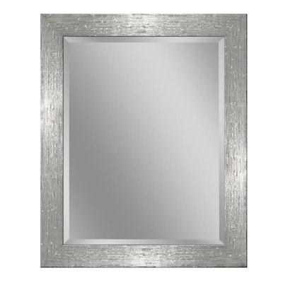 32 In L X 26 W White Chrome Beveled Wall Mirror